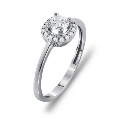 Μονόπετρο Δαχτυλίδι Από Λευκόχρυσο K14 DX97014
