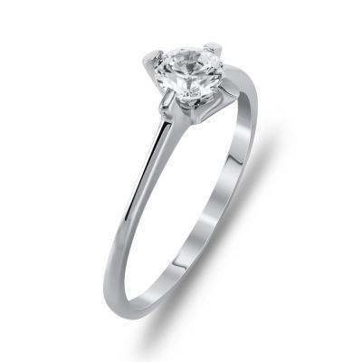 Μονόπετρο Δαχτυλίδι Από Λευκόχρυσο K14 DX99969