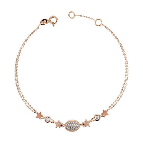 Βραχιόλι Με Διπλή Αλυσίδα Από Ροζ Χρυσό Κ14 VR00901