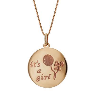Μενταγιόν Ιt's a Girl Από Ροζ Χρυσό Κ14 M461