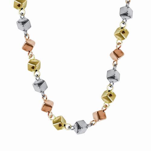 Κολιέ Από Tρίχρωμο Χρυσό Κ14 KL01233