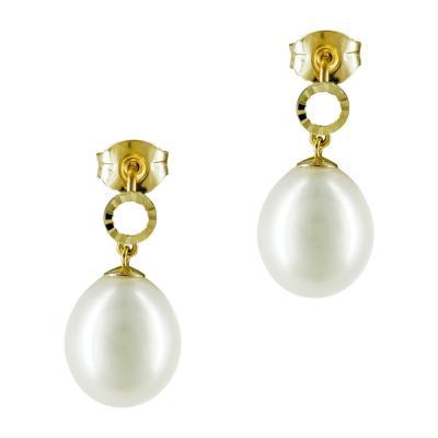 Σκουλαρίκια Με Μαργαριτάρια Από Κίτρινο Χρυσό Κ14 SK883
