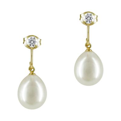 Σκουλαρίκια Με Μαργαριτάρια Από Κίτρινο Χρυσό Κ14 SK872