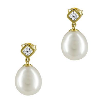 Σκουλαρίκια Με Μαργαριτάρια Από Κίτρινο Χρυσό Κ14 SK873