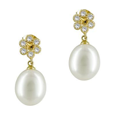 Σκουλαρίκια Με Μαργαριτάρια Από Κίτρινο Χρυσό Κ14 SK874