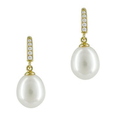 Σκουλαρίκια Με Μαργαριτάρια Aπό Κίτρινο Χρυσό Κ14 SK875