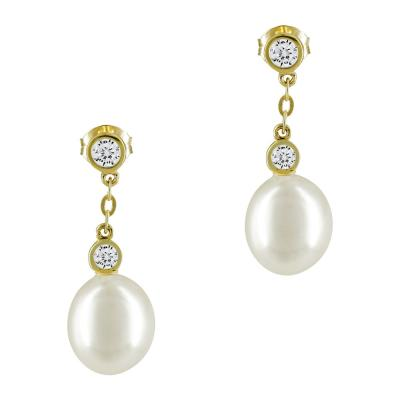 Σκουλαρίκια Με Μαργαριτάρια Από Κίτρινο Χρυσό Κ14 SK876