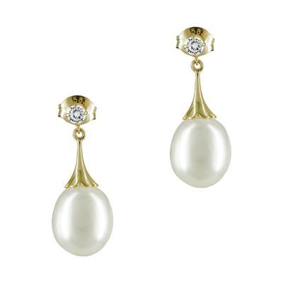 Σκουλαρίκια Με Μαργαριτάρια Από Κίτρινο Χρυσό Κ14 SK882