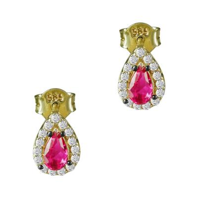 Σκουλαρίκια Με Χρωματιστή Πέτρα Από Κίτρινο Χρυσό Κ14 SK00131
