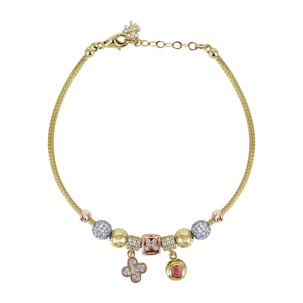 Βραχιόλι Με Πέτρες Από Κίτρινο Χρυσό K14 VR576