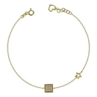 Βραχιόλι Με Κύβο Από Κίτρινο Χρυσό Κ14 VR94067