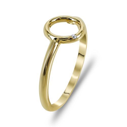 Δαχτυλίδι Με Κύκλο Από Κίτρινο Χρυσό Κ14 DX713
