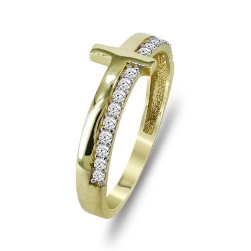 Δαχτυλίδι Με Σταυρό Από Κίτρινο Χρυσό Κ14 DX721