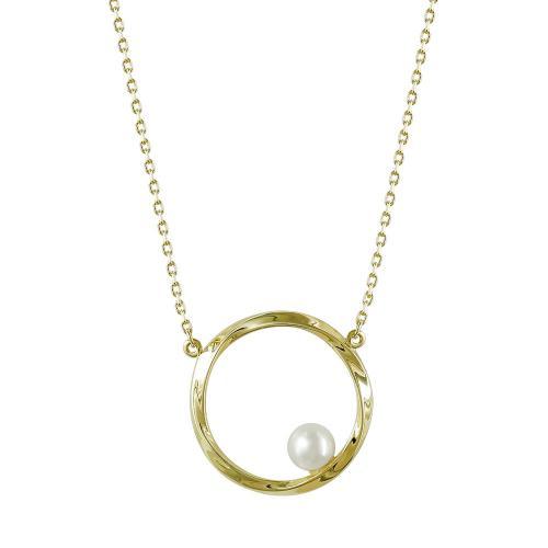 Κολιέ Κύκλος Με Μαργαριτάρι Από Κίτρινο Χρυσό Κ14 KL99796