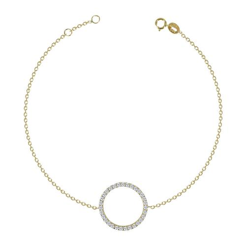 Βραχιόλι Κύκλος Με Πέτρες Από Κίτρινο Χρυσό K14 VR585