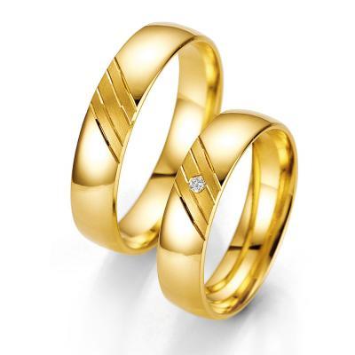 Κίτρινη Χρυσή Βέρα Γάμου Breuning με ή χωρίς Πέτρες WR317