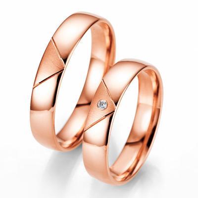 Ροζ Χρυσή Βέρα Γάμου Breuning με ή χωρίς Πέτρες WR323R