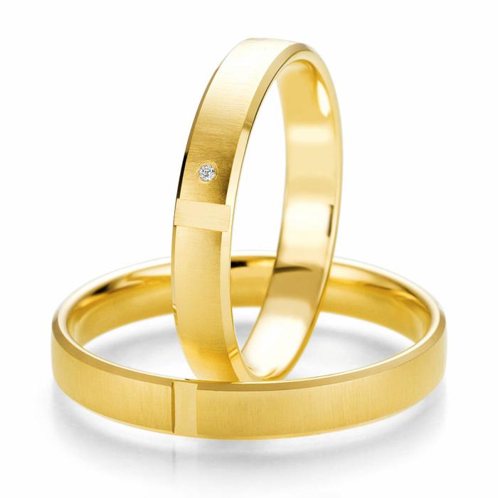 Κίτρινη Χρυσή Βέρα Γάμου Breuning με ή χωρίς Πέτρες WR324