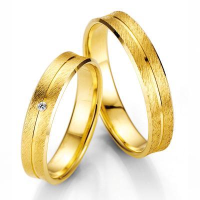 Κίτρινη Χρυσή Βέρα Γάμου Breuning με ή χωρίς Πέτρες WR326