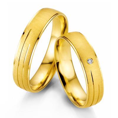Κίτρινη Χρυσή Βέρα Γάμου Breuning με ή χωρίς Πέτρες WR327