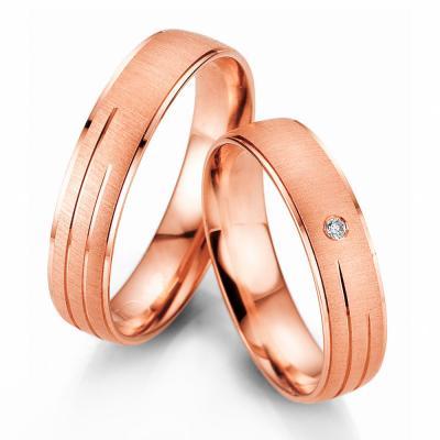 Ροζ Χρυσή Βέρα Γάμου Breuning με ή χωρίς Πέτρες WR327R