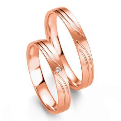 Ροζ Χρυσή Βέρα Γάμου Breuning με ή χωρίς Πέτρες WR328R