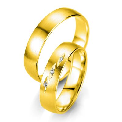 Κίτρινη Χρυσή Βέρα Γάμου Breuning με ή χωρίς Πέτρες WR329