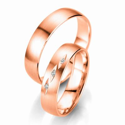 Ροζ Χρυσή Βέρα Γάμου Breuning με ή χωρίς Πέτρες WR329R