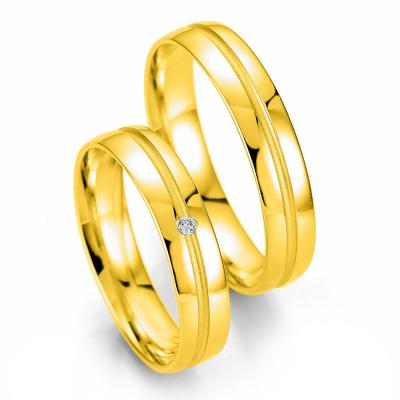 Κίτρινη Χρυσή Βέρα Γάμου Breuning με ή χωρίς Πέτρες WR330