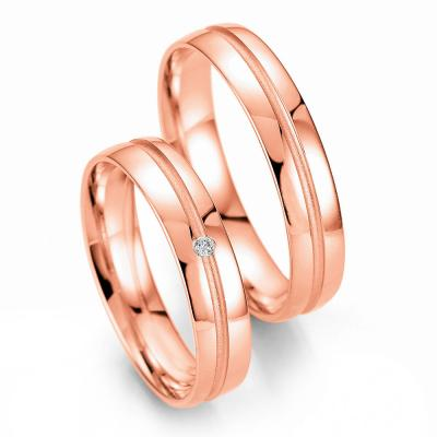 Ροζ Χρυσή Βέρα Γάμου Breuning με ή χωρίς Πέτρες WR330R