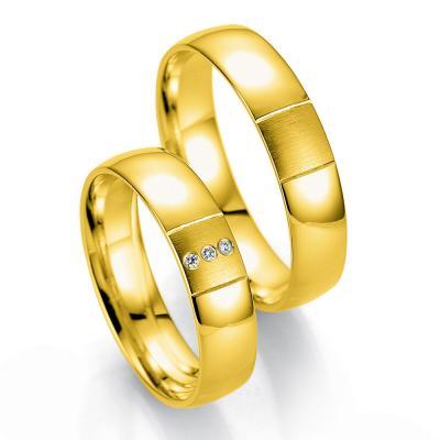 Κίτρινη Χρυσή Βέρα Γάμου Breuning με ή χωρίς Πέτρες WR331