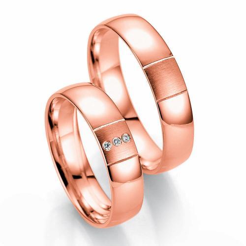 Ροζ Χρυσή Βέρα Γάμου Breuning με ή χωρίς Πέτρες WR331R