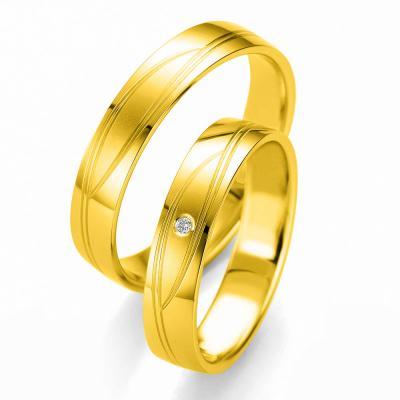 Κίτρινη Χρυσή Βέρα Γάμου Breuning με ή χωρίς Πέτρες WR332