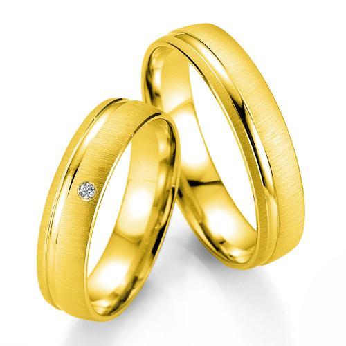 Κίτρινη Χρυσή Βέρα Γάμου Breuning με ή χωρίς Πέτρες WR333