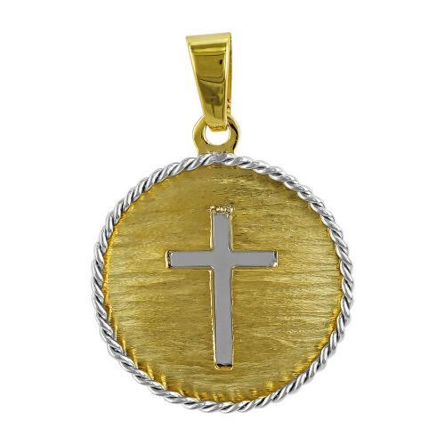 Φυλαχτό με τον Σταυρό Aπό Δίχρωμο Χρυσό K14 PA510