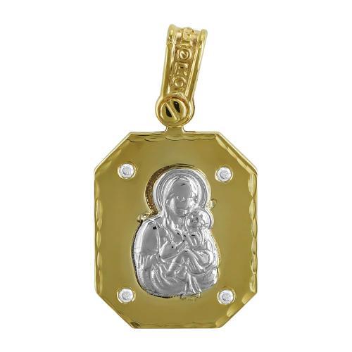 Φυλαχτό με την Παναγίτσα Aπό Δίχρωμο Χρυσό K9 PA515