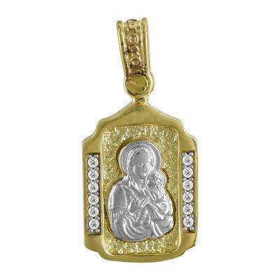 Φυλαχτό με την Παναγίτσα Aπό Δίχρωμο Χρυσό K9 PA517