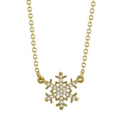 Κολιέ Χιονονιφάδα Από Κίτρινο Χρυσό Κ9 KL785