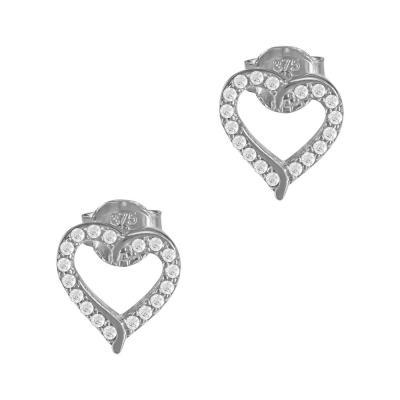 Σκουλαρίκια Καρδούλα Από Λευκόχρυσο Κ9 SK904