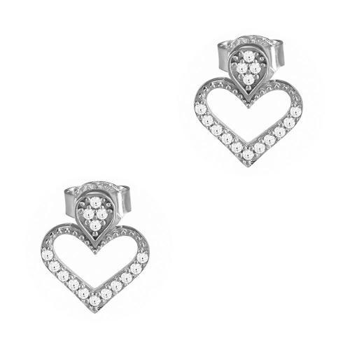 Σκουλαρίκια Καρδούλα Από Λευκόχρυσο Κ9 SK909