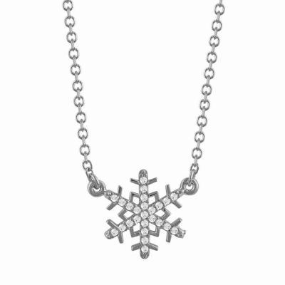 Κολιέ Χιονονιφάδα Από Λευκόχρυσο Κ9 KL782