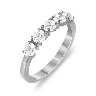 Δαχτυλίδι Μισόβερο Από Λευκόχρυσο Κ14 DX776
