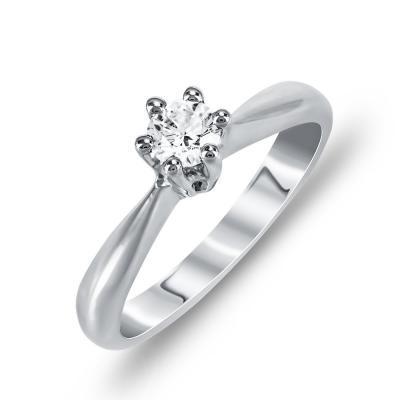 Μονόπετρο Δαχτυλίδι Με Διαμάντια Brilliant Από Λευκόχρυσο Κ18 DDX246