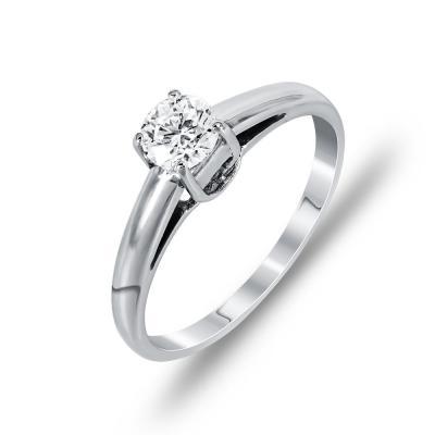 Mονόπετρο Δαχτυλίδι Με Διαμάντια Brilliant Aπό Λευκόχρυσο Κ18 DDX252