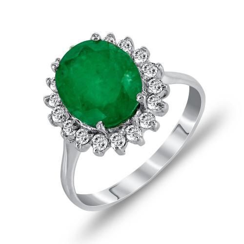 Μονόπετρο Δαχτυλίδι Ροζέτα Με Σμαράγδι Και Διαμάντια Brilliant Aπό Λευκόχρυσο Κ18 DDX250