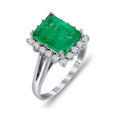 Μονόπετρο Δαχτυλίδι Ροζέτα Με Σμαράγδι Και Διαμάντια Brilliant Aπό Λευκόχρυσο Κ18 DDX251