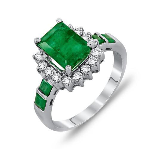 Μονόπετρο Δαχτυλίδι Με Σμαράγδι Και Διαμάντια Brilliant Από Λευκόχρυσο Κ18 DDX249