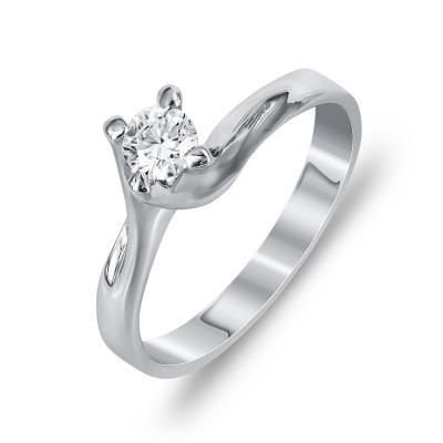 Mονόπετρο Δαχτυλίδι Με Διαμάντια Brilliant Aπό Λευκόχρυσο Κ18 DDX255