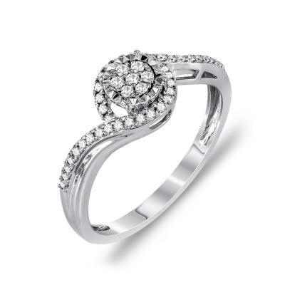 Mονόπετρο Δαχτυλίδι Με Διαμάντια Brilliant Aπό Λευκόχρυσο Κ14 DDX253