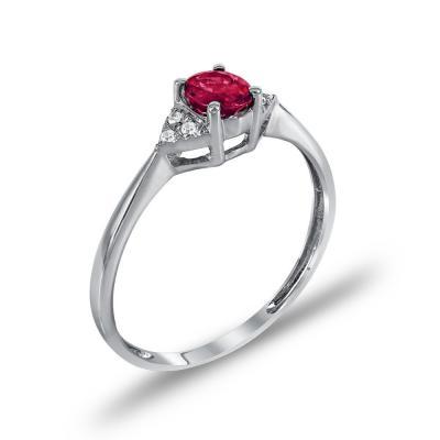 Μονόπετρο Δαχτυλίδι Με Ρουμπίνι Και Διαμάντια Brilliant Κ18 DDX245